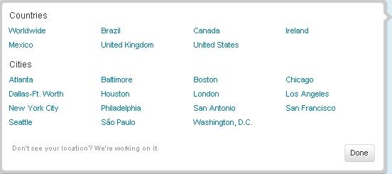 Twitter Local Trends - noch nicht für alle Regionen