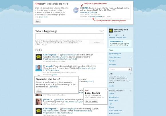Lokale bwz. Local Trends: Twitter weist auf neue Funktionen hin