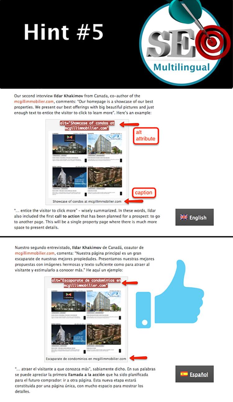 Tipp 5: Alt-Attribute und Bildunterschriften bei Bildern (auch für Übersetzungen)<